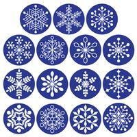 white snowflakes on dark blue circles
