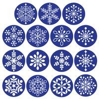 witte sneeuwvlokken op donkerblauwe cirkels