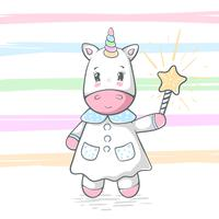 Cute, funny unicorn illustration. Magic trick and wand.