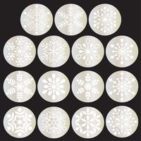 white snowflakes on metallic silver circles