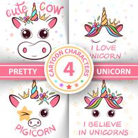 Unicorn, pig, cow, bull - baby illustration. idea for print t-shirt.