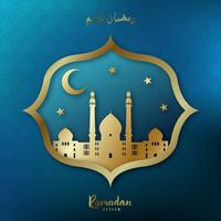 Ramadan Kareem Greeting card. Golden mosque, crescent moon, gold stars on blue background.