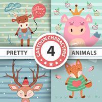 Set cartoon animals - funny illustration.