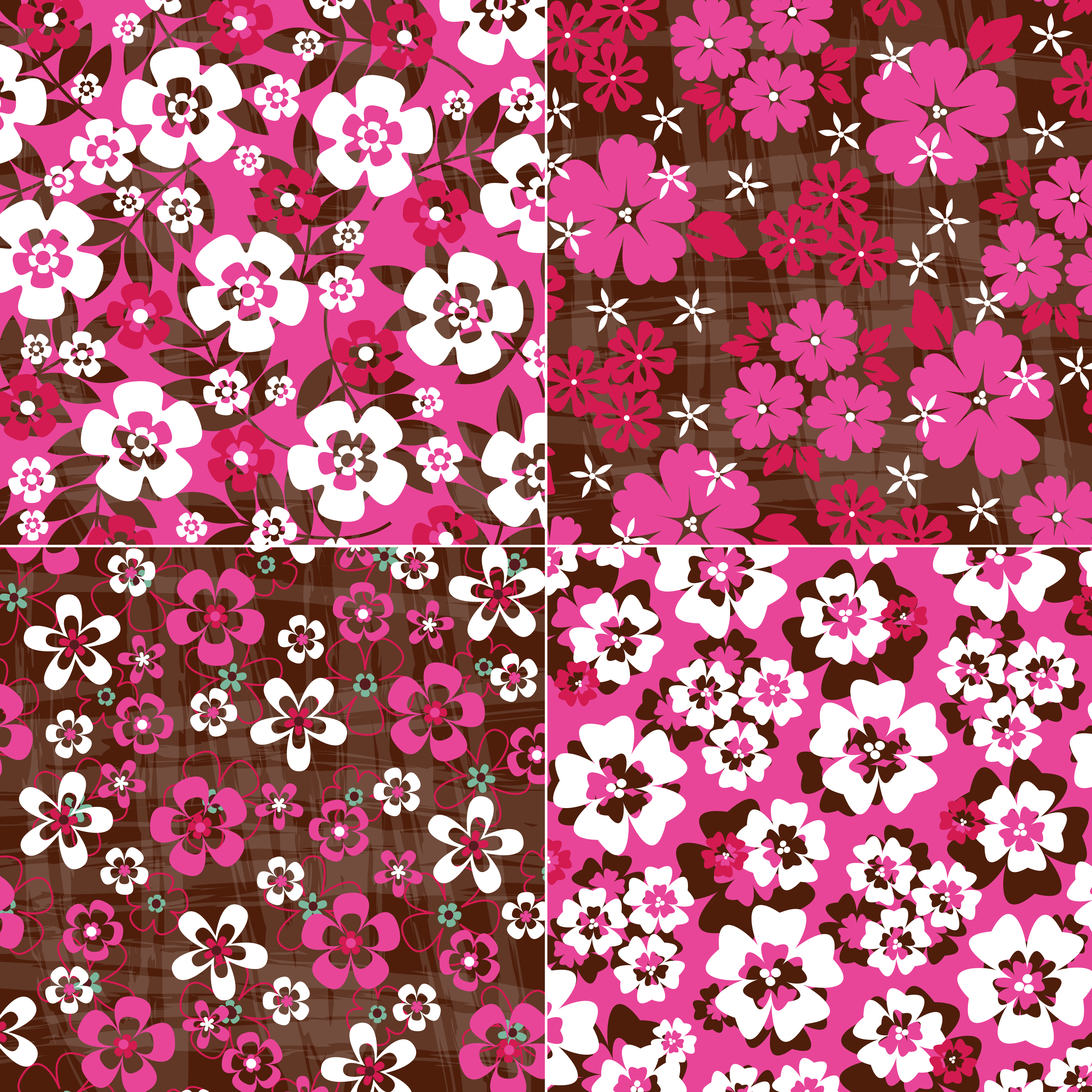 Pink Red Brown Tropical Floral Patterns Download Free Vectors