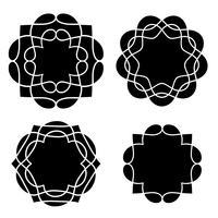 formas de medallon negro vector