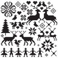 black nordic vector winter motifs