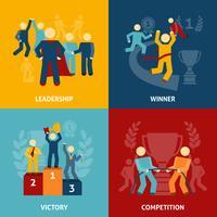 Conjunto de iconos planos de competencia