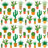 cactus in pots vector pattern