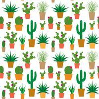 kaktus i krukor vektor mönster