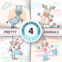 Set Cartoon animals cow, deer, bull, zebra, unicorn.