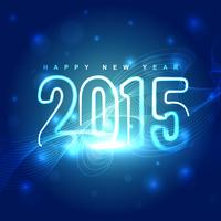 neon style 2015 text with line wave vector