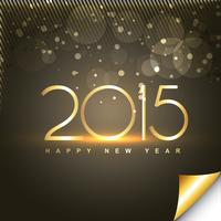 shiny happy new year text in gold style with transparent circles vector
