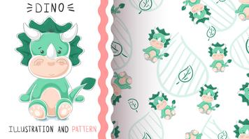 Green funny dino - seamless pattern vector