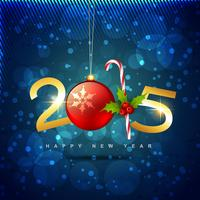 2015 happy new year design with christmas ball and candy