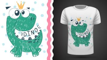 Cute princess dinosaur - idea for print t-shirt.