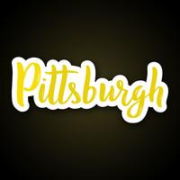 Pittsburgh - hand drawn lettering phrase. Sticker with lettering in paper cut style.