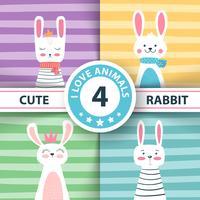 Rabbit characters. Cute winter illustration. vector