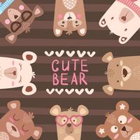 Cute winter illustration. Bear characters.