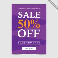 Flyer design for Sale , concept sale flyer bunting orange purple color vector illustration