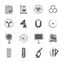 Conjunto de iconos de ciencia negro
