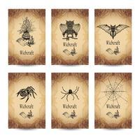 Conjunto de banners de brujería vintage