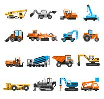 Construction Machines Icons Set vector