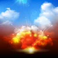 Explosiewolken en blauwe hemelbanner