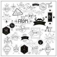 Symboles de mots clés noirs sur tableau blanc