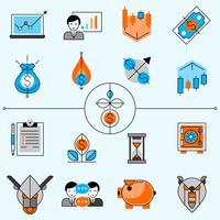 Set di icone di linea di investimento