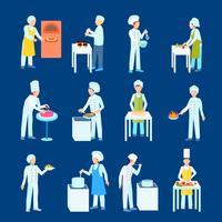 Conjunto de ícones plana de cozinheiros
