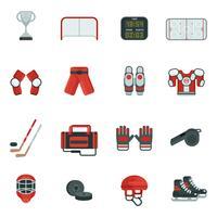 Conjunto de iconos decorativos de hockey