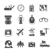Conjunto de iconos de senderismo negro