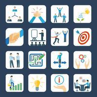 Conjunto de ícones plana de mentoring