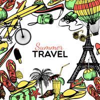 marco de doodle de viaje