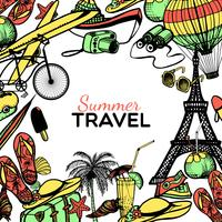 Quadro de Doodle de viagens
