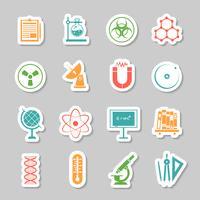 Conjunto de iconos de pegatinas de ciencia