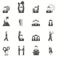 Ledarskap svart vit ikoner uppsättning