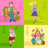 Family child 4 flat icons banner