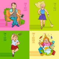 Familj barn 4 platta ikoner banner