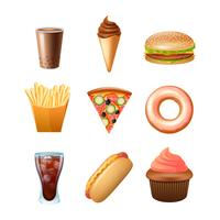 Fast food menu flat icons set