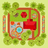 Flat style landscape design concept