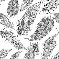Feather seamless doodle black pattern