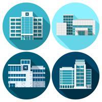 Edifici ospedalieri piane vettore
