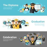 Conjunto de banners de graduación vector