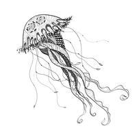 Schwarze Linie der Gekritzelskizzen-Medusaquallen