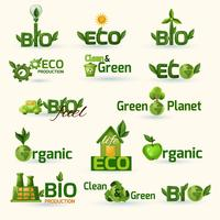green ecology text icons set
