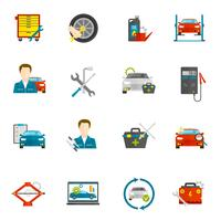 Auto Mechanic Flat Icons Set