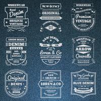 Emblemi di logo di tipografia jeans denim impostato