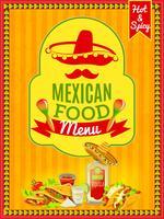 Póster del menú de comida mexicana