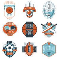 Sport clubs labels icons set